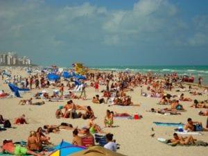 Crowded Miami Beach