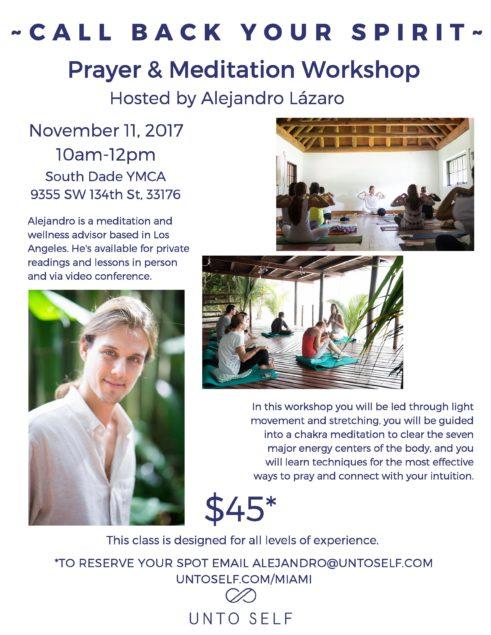 Nov 11, 2017 Prayer & Meditation Workshop