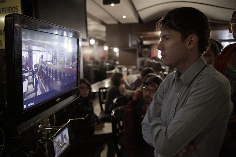 Benavides checks the framing of a shot. (Photo by Eduardo Capriles)