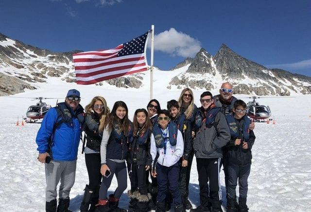 Local travelers explore glacier in Skagway, AK