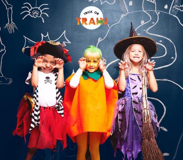 Entertain your little monsters on Brightline's Halloween train.